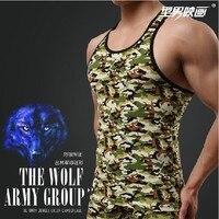 2014New Freeshiping Slim Dark Green Camouflage Series Of FitnessMen S Tank Tops T Bottoming Waistcoat Men