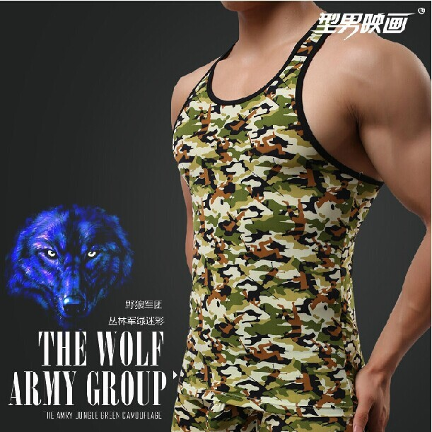 2014New приталенный тёмный зеленый камуфляж серия fitnessMen святого тельняшки т дна жилет мужчины жилет