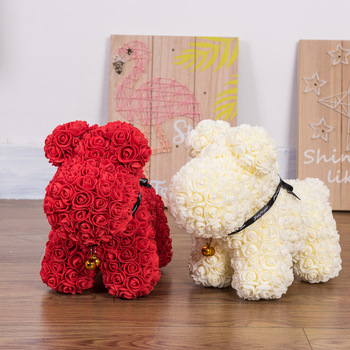 2019  Valentines Gift Artificial Flower PE Rose Lucky Dog for Lovers  Girlfriend Gift Rose Dog PE Flower For Home With Gift Box