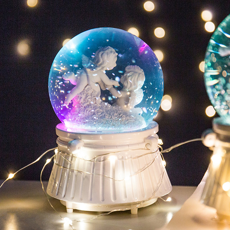 Angel Music Boxes Snow Crystal Ball Box With Light Lucky Baby Christmas Birthday Valentine's Day Kids Mon Gifts Home Decoration