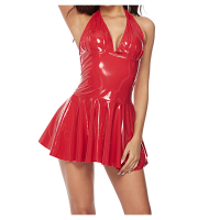 Wome Latex Dress Hot Sexy halter Faux Pu Leather Lingerie Black Red PVC Latex rubber Deep V Erotic Fetish MiNi Dress Costumes
