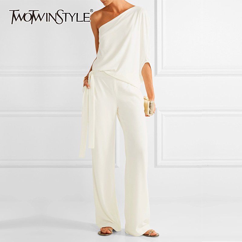 TWOTWINSTYLE Summer Solid Two Piece Set For Women Irregular Sleeve Ong Shoulder High Waist Bandages Pants Suits Female 2019 New
