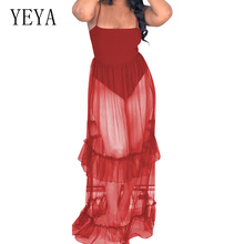 YEYA Red Vintage Mesh Perspective Dress Sexy See Through Ruffles Club Long Off Shoulder Summer Boho Beach Party Dresses