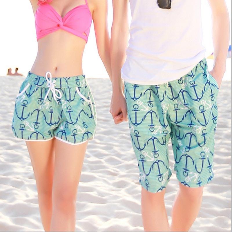 2018 New Beach Men Shorts Stripe Flower Star Hook Print Men Boardshorts Summer Men and women Beach shorts Casual Couple Clothing