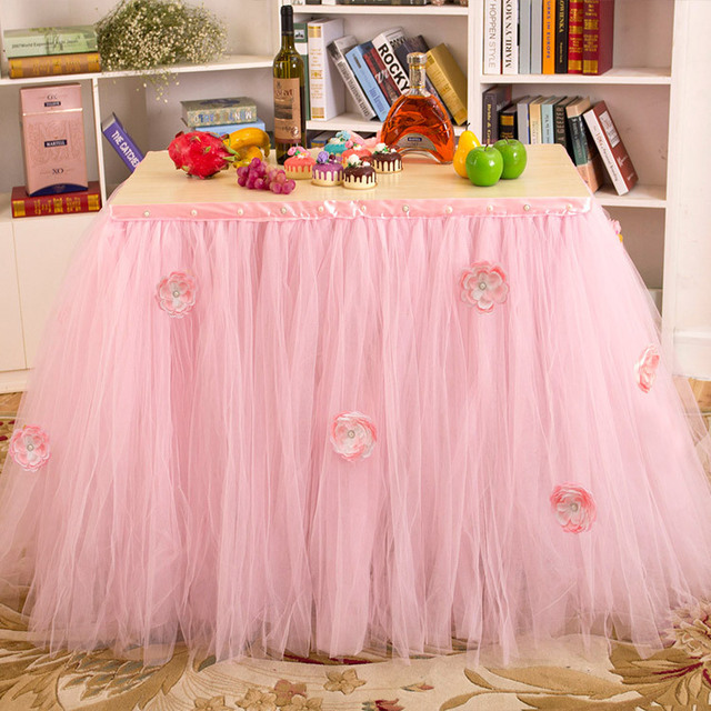 DIY Table Skirting Customize Handmade Tulle Tutu Skirt Birthday Banquet Party Wedding Decoration Home Textile