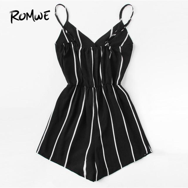 ROMWE Vertical Striped Cami Romper