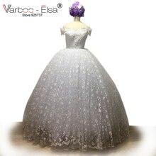 New Elegant Princess Wedding Dresses 2017 V-neck Ball Gown Lace Up Back Beads floor length Bridal Gowns lace Vestido de noiva