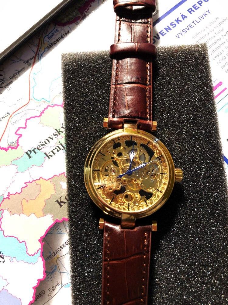 Forsining 2018 relógios de ouro moda azul