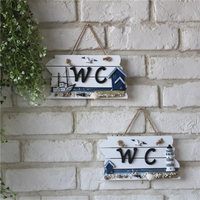 22 12CM Wooden Plaques Mediterranean Style Vintage Wall WC Toilet Sign In Home Decor Wall Door