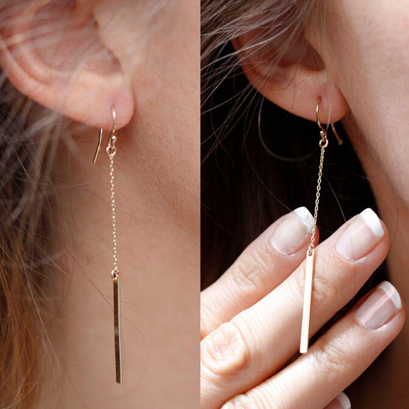 Punk Jewelry Fashion Women Charms Tassels Metal Bar Ear Jewelry Drop Earrings Vintage Gold Colour Long Pendant Chain Earring