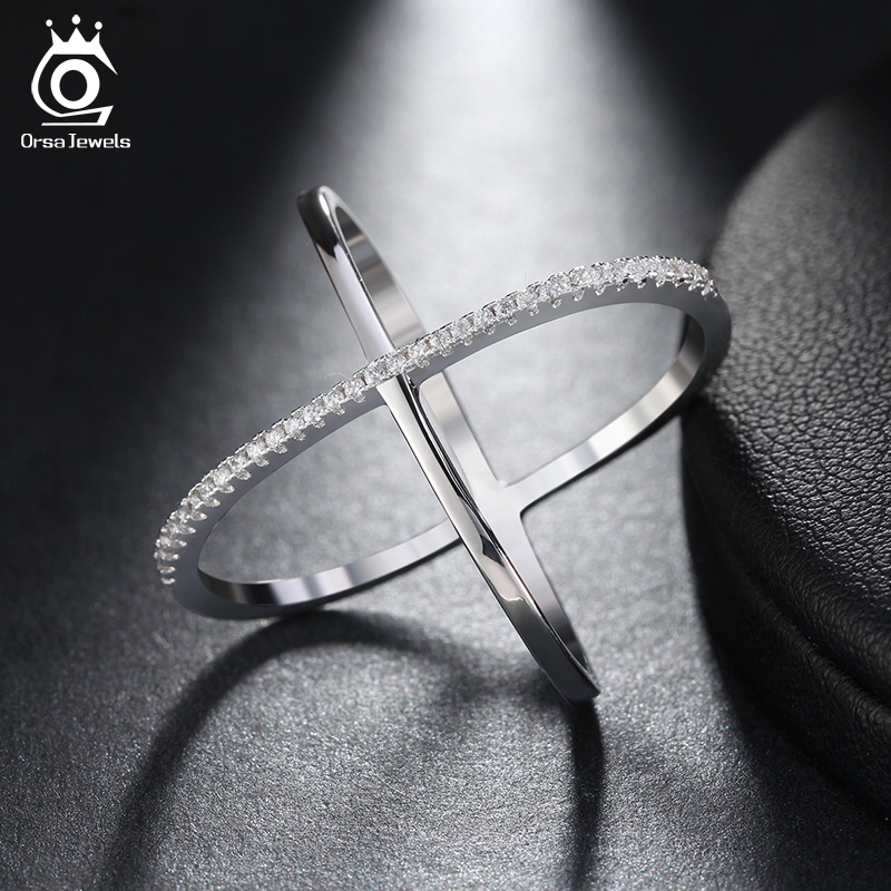 ORSA JEWELS 2019 Newest Design Infinity Ring with 36 Pieces Micro Paved CZ Fashion Women Silver Color Rings Wholesale OR66
