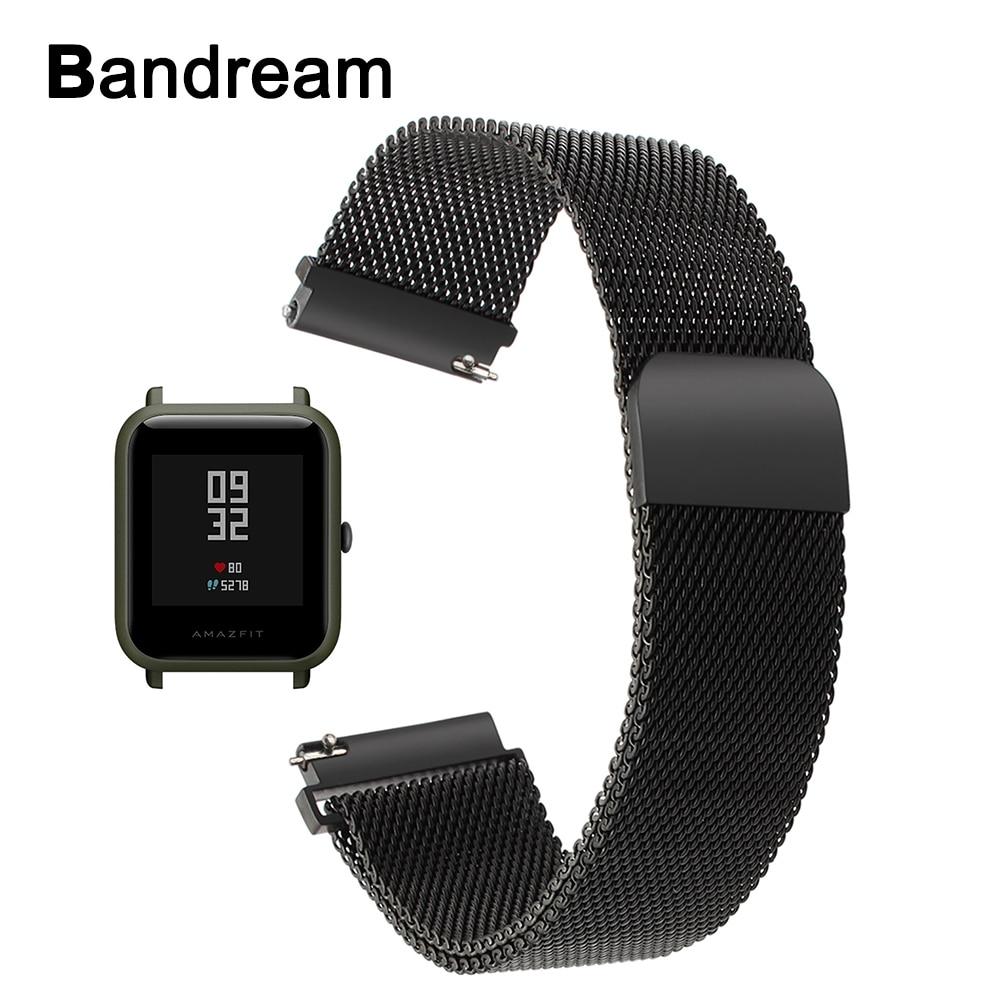 Milanese Bracelet En Acier Inoxydable pour Xiaomi Huami Amazfit Bip PEU RYTHME Lite Jeunes Montre Bande Aimant Bracelet Poignet Bracelet Noir