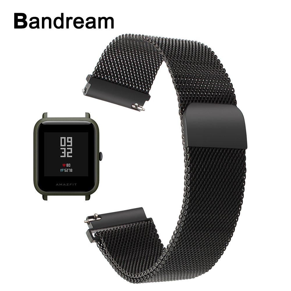 Milanese Stainless Steel Watchband for Xiaomi Huami Amazfit Bip BIT PACE Lite Youth Watch Band Magnet Strap Wrist Bracelet Black mijobs for xiaomi huami amazfit bit strap metal stainless steel bracelet replacement huami amazfit bip bit pace lite youth watch
