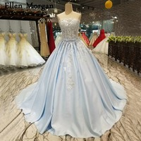 Light Sky Blue Sexy Puffy Wedding Dresses 2018 Vestido De Noiva Corset Lace up See Through Beaded Satin Ball Gowns Bridal Gowns