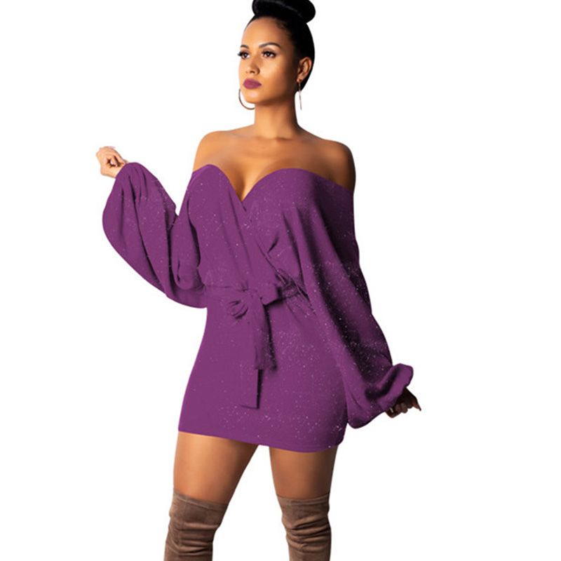 Women Winter Glitter Off Shoulder Knitted Dress Sexy Strapless Lantern Sleeve Knit Sweater Dress Party Club Mini Dress Sashes