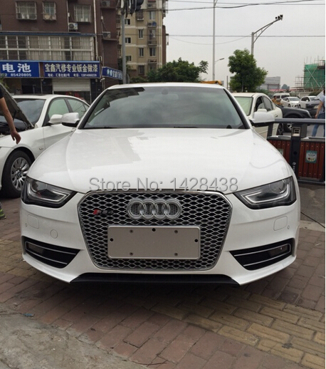Front Chrome Frame Mesh Sport Grill Grille Fit For Audi A4