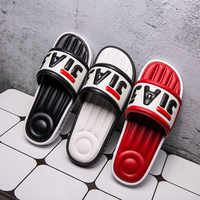 Men Shoes unisex Slippers fashion Mens Word Print Outdoor Beach Flip Flops Soft Flat Platform Male Sandals casual home slippers