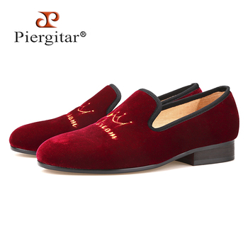 New style crown embroidery handmade men velvet shoes men loafers wedding and party shoes men flats size US 4-17 Free shipping