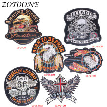 ZOTOONE Tactical Military Biker Patches Embroidery Iron for Clothing Eagle Angel Wings Applique Flower Patch