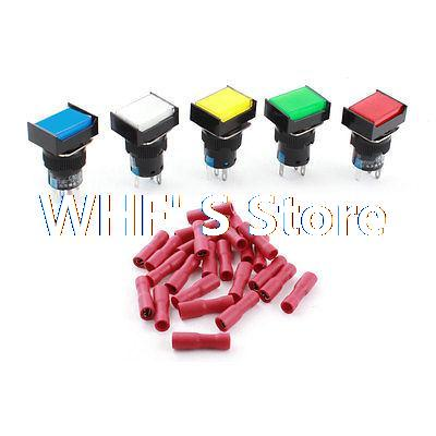 5Pcs AC220V Assorted Color LED Lamp SPDT Locking Pushbutton Switch 16mm w Connectors [vk] 8632akb6x718ul switch pushbutton spdt 6a 125v switch