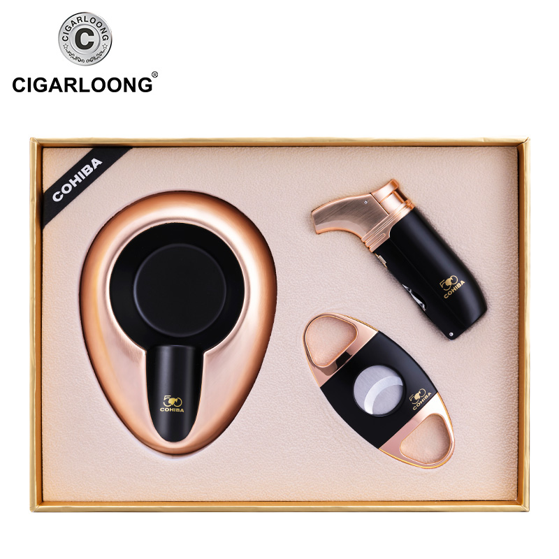 CIGARLOONG Cigar Ashtray Sets Travel Portable Ashtray with Stainless Steel Cigar Cutter and lighter Gift Package CQ 4001 in Ashtrays from Home Garden
