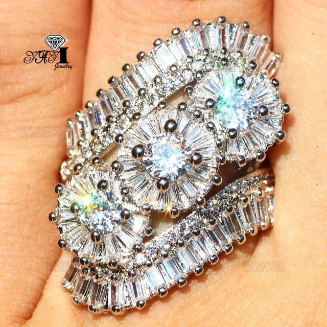 YaYI Jewelry Princess Cut 7.2 CT White Zircon Silver Color Engagement Rings wedding Heart Rings Girls Party Rings Gifts