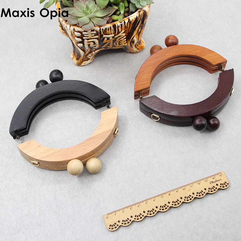 1 Piece Solid Wood 14 CM Brown Big Ball Clasp Sew In Purse Frames Bag Handle Hanger DIY Handbag Accessories Wooden Bag Handle