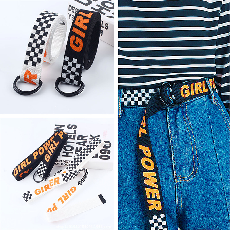 Extremely Fashion Personality   Belts   for Women Letter GIRL POWER Young Hip Hop Street Style High Quality Big Size Canvas   Belts