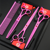 Pet Grooming Scissors 8 inch 7 inches Pink Painted Dog Grooming Tools Cat Hair straight curved cutting thinning tesouras+comb