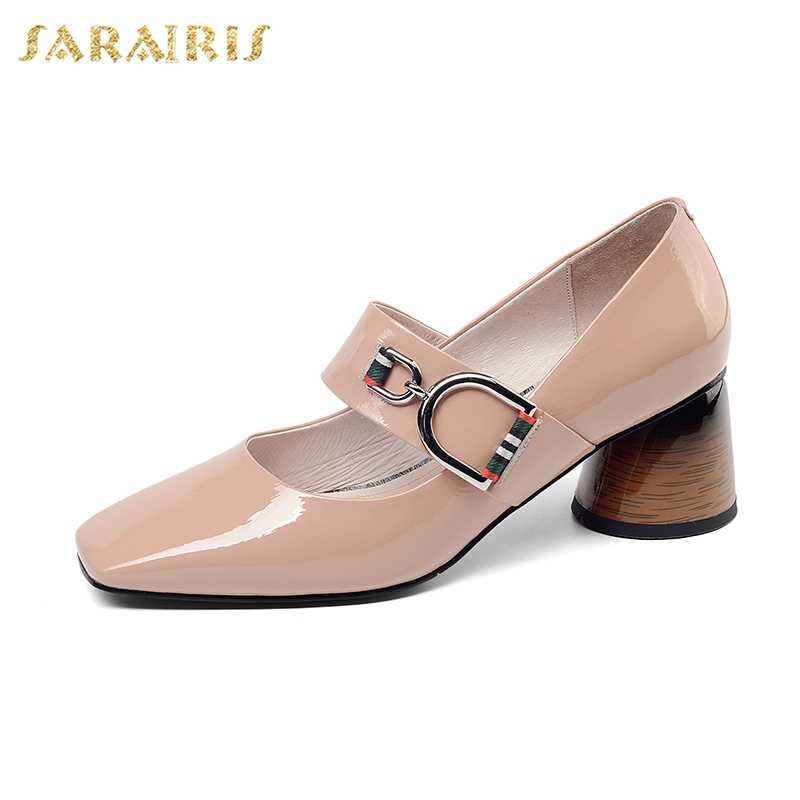 9bac08e2148 SARAIRIS Big Size 41 Ins Genuine Leather Chunky Heels Mature Lady women s  Pumps Classics Fashion Elegant