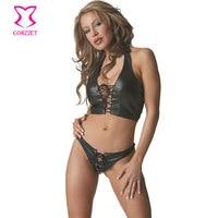 Corzzet Black Faux Leather Halter Bra With Panties Sets Women Sexy Lingerie Clubwear