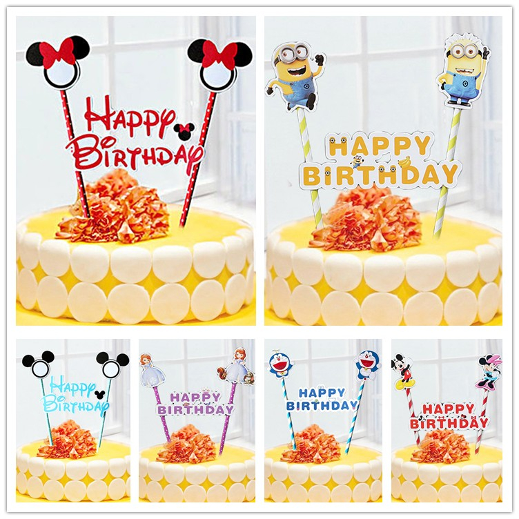 1set Mickey Minnie mouse cupcake cake topper cake flags paper straw baby shower child birthday party supplies party decorative