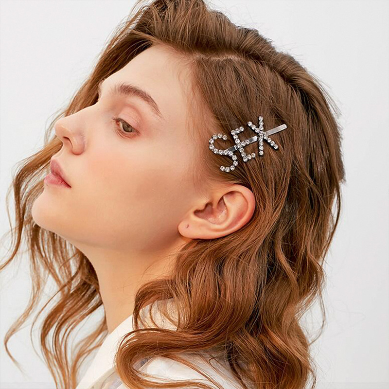 2019 New Women Girls Luxury Crystal Letter Hair Clips Headbands Lovely Barrettes Headwear Hairpins Fashion Hair Accessories