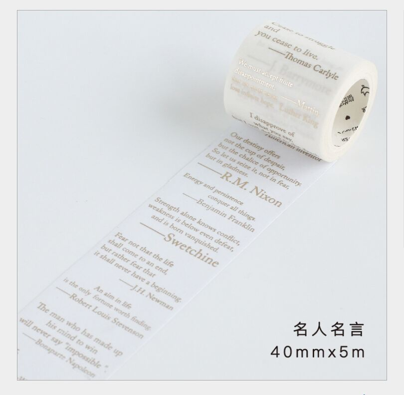 40mm Vintage Nostalgic Famous Quotes Wisdom Gold Foil Washi Tape DIY Planner Scrapbooking Masking Tape Escolar