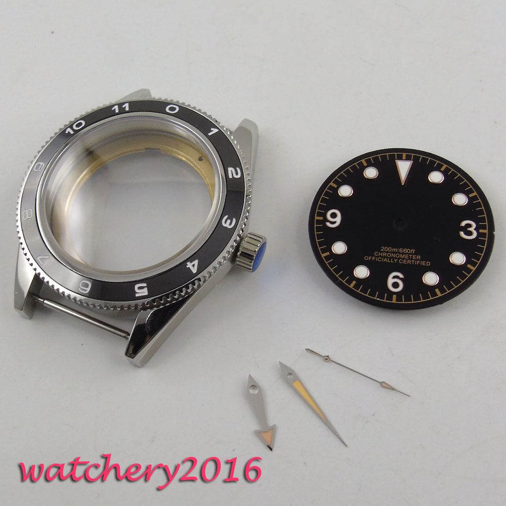 41mm parnis High quality hardened Luminous Marks Newest HOT Watch Case + black dial + Hand set fit ETA 2824 2836 miyota Movement 41mm pvd black steel case dial hands luminous set for eta 2824 2836 miyota 8215 movement