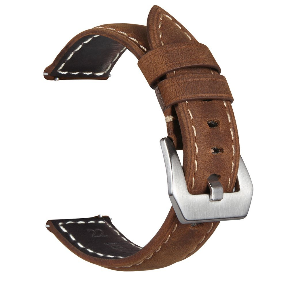 22mm Watchstrap For Samsung Gear S3 Galaxy Watch 46mm Luxury Genuine Leather Watch Strap For Amazfit Stratos 2 2S Bracelet Bands