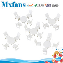 Mxfans 5 Round Dining Tables 20 Chairs Model Dollhouse Miniature Furniture 1:50(China)
