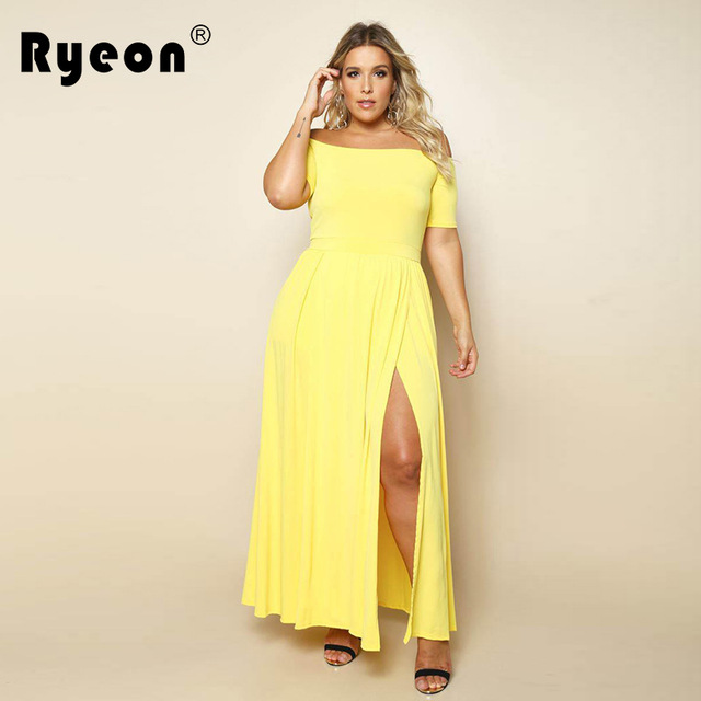 e610477d8c9 Ryeon Maxi Dress Off Shoulder Party Dress Women Plus Size Tunic Black  Yellow Red Blue Long Split Sexy Office Vestidos De Festa