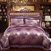 2016 NEW purple High Quality Silk cotton satin Jacquard Bed linen Bedding set Queen king size Bedclothes Duvet cover set