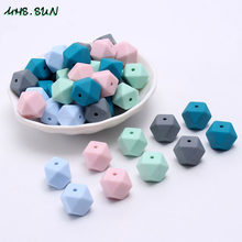 MHS.SUN Silicone Beads 17mm Baby Teething Teether DIY Toy Blue/Green Hexagon Loose Beads Make Chewable Teething Necklace Jewelry