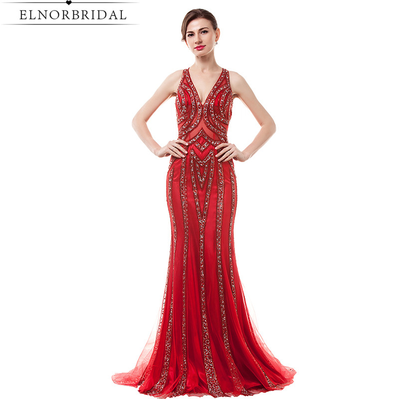 Modest Red   Prom     Dresses   2019 Vestido De Formatura Mermaid Beading Formal Evening   Dress   For Women V Neck Party Gowns