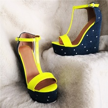 Wedges T-bar Sandals Woman Female+Shoes Platform One Strap Cut Out Open Toe Ankle Buckle Shoes Neon Color Summer Lady Sandals цена 2017