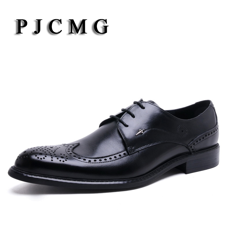 PJCMG New Classical Men Dress Flat Luxury Business Lace-Up Oxfords Casual Shoe Black / Red Genuine Leather Derby Wedding Shoes