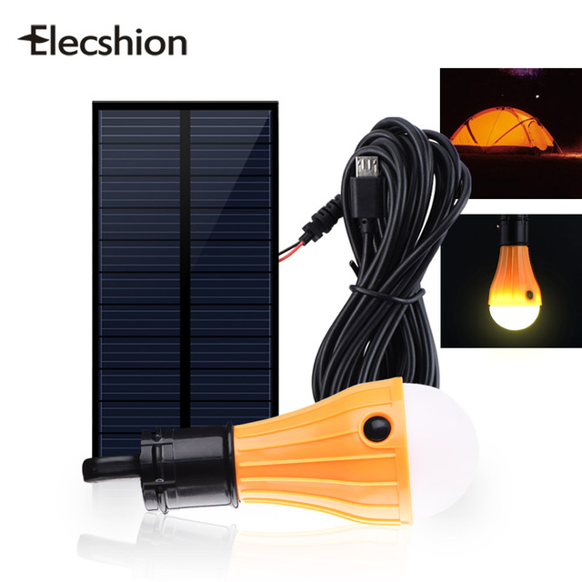 Elecshion Outdoor Lighting Led Solar Lamp Energy Sunlight Luminaria Shed Hanging Camping Tent Bulb
