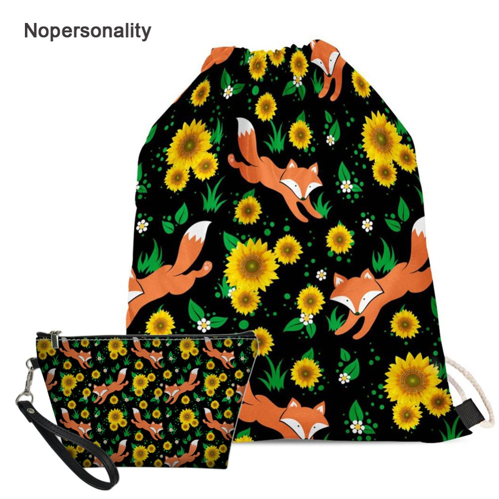 Nopersonality Floral Fox Panda Print Drawstring Bag for Women Portable Teenager Girls School Bag Casual Travel