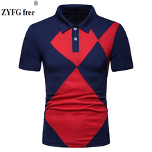 Summer mens short-sleeved polo shirts stitching cotton polyester blended shirt youth vitality leisure