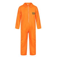 Men's Escaped Prisoner Costume Prisoner Jumpsuit Orange Prison Inmate Halloween Cosplay Costumes Unisex Jail Criminal Dress Up