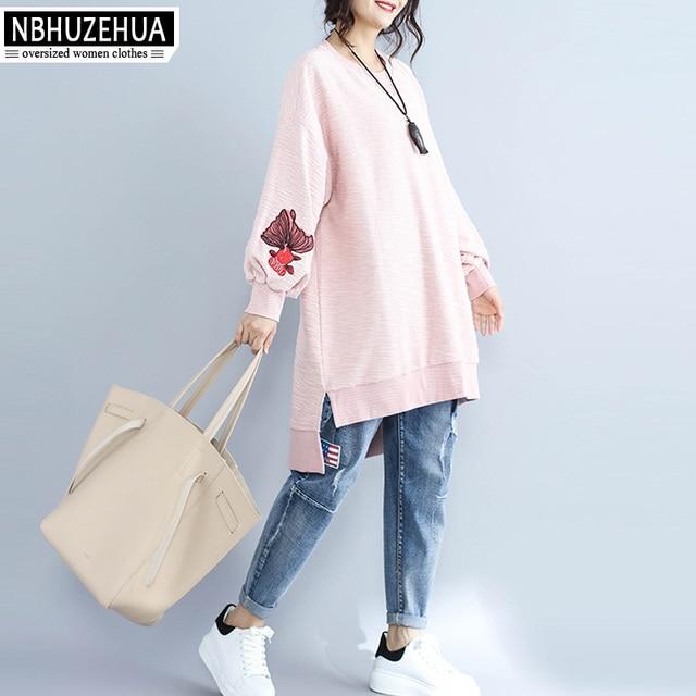 18d0f7f9460 NBHUZEHUA H178 Embroidery Sweatshirt Women Plus Size Irregular Pink  Pullover Hoodie Long Sleeve Sweatshirt Jumper 4XL 5XL 6XL
