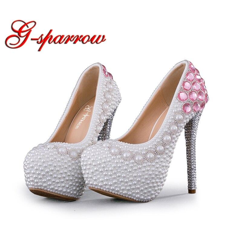 Putih Mutiara Pernikahan Wanita Sepatu Pesta Hak Tinggi Musim Semi Sepatu  Pink Berlian Imitasi Pengantin Pompa 96eaeb1d4e