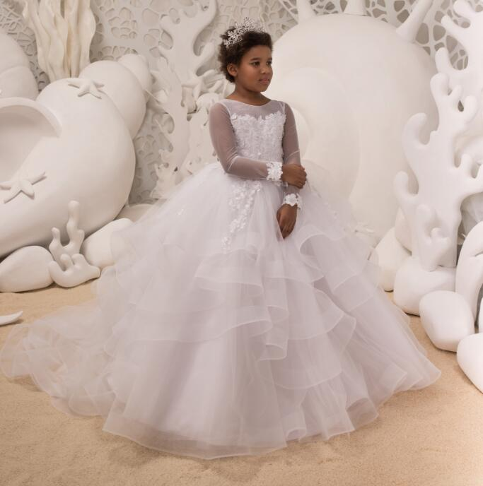 Lace Pearls Flower Girl Dresses for Weddings White Long Sleeve Kids Evening Dress Holy Communion Dresses For Girls Pageant Gowns elegant lace floral appliques flower girls dress cute mint green sleeveless pearls beaded kids pageant ball gowns for communion